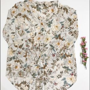 Zara Floral Hi-Low Button Up Size Small